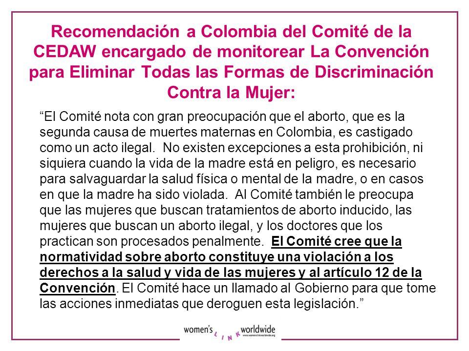Recomendación a Colombia del Comité de la CEDAW encargado de monitorear La Convención para Eliminar Todas las Formas de Discriminación Contra la Mujer