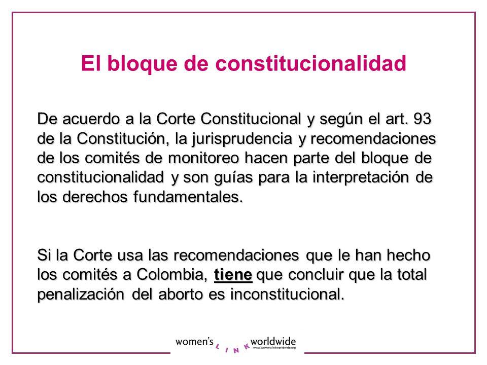 El bloque de constitucionalidad De acuerdo a la Corte Constitucional y según el art. 93 de la Constitución, la jurisprudencia y recomendaciones de los