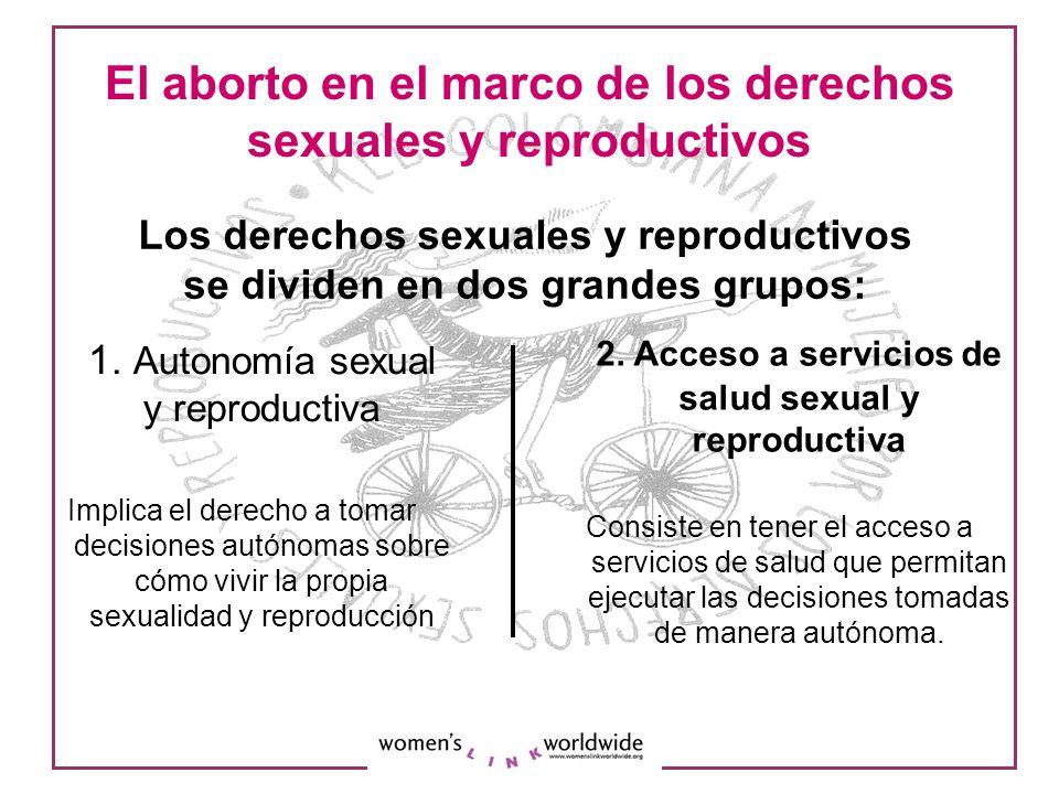 El aborto en el marco de los derechos sexuales y reproductivos 1. Autonomía sexual y reproductiva Implica el derecho a tomar decisiones autónomas sobr