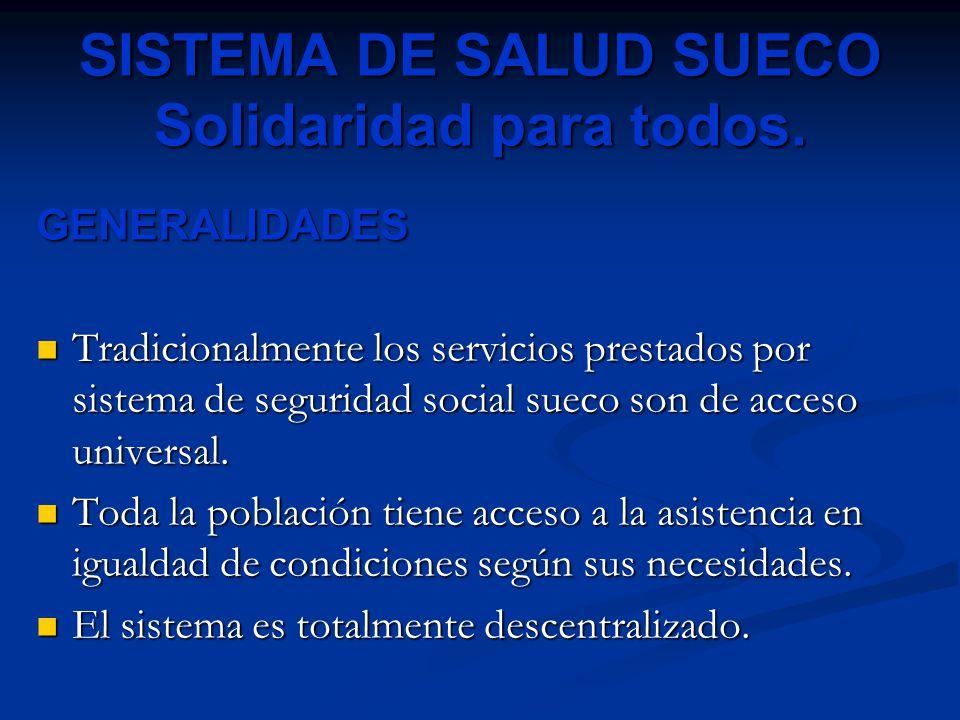 SISTEMA DE SALUD SUECO Solidaridad para todos. GENERALIDADES Tradicionalmente los servicios prestados por sistema de seguridad social sueco son de acc