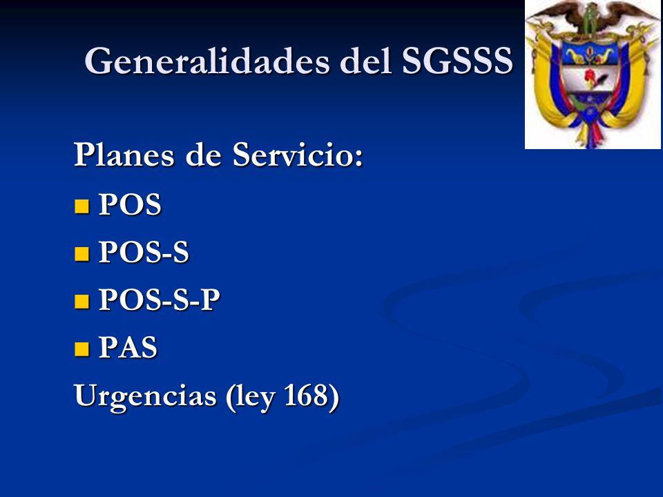 Planes de Servicio: POS POS POS-S POS-S POS-S-P POS-S-P PAS PAS Urgencias (ley 168) Generalidades del SGSSS