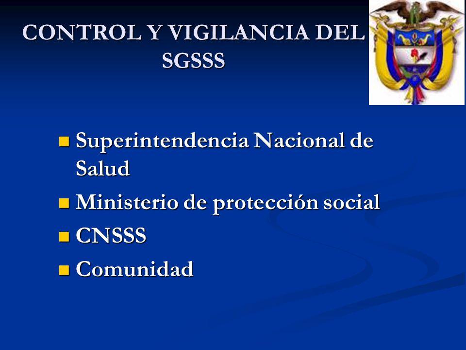 CONTROL Y VIGILANCIA DEL SGSSS Superintendencia Nacional de Salud Superintendencia Nacional de Salud Ministerio de protección social Ministerio de pro