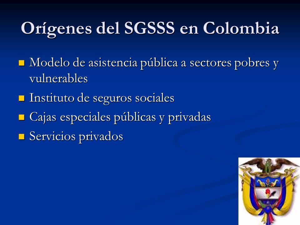 Orígenes del SGSSS en Colombia Modelo de asistencia pública a sectores pobres y vulnerables Modelo de asistencia pública a sectores pobres y vulnerabl