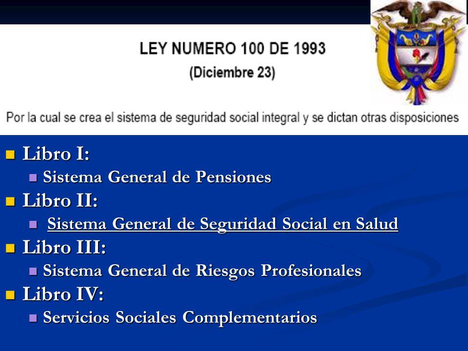 Libro I: Libro I: Sistema General de Pensiones Sistema General de Pensiones Libro II: Libro II: Sistema General de Seguridad Social en Salud Sistema G