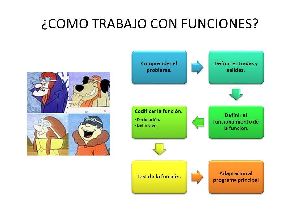 ¿COMO TRABAJO CON FUNCIONES? Comprender el problema. Definir entradas y salidas. Definir el funcionamiento de la función. Codificar la función. Declar