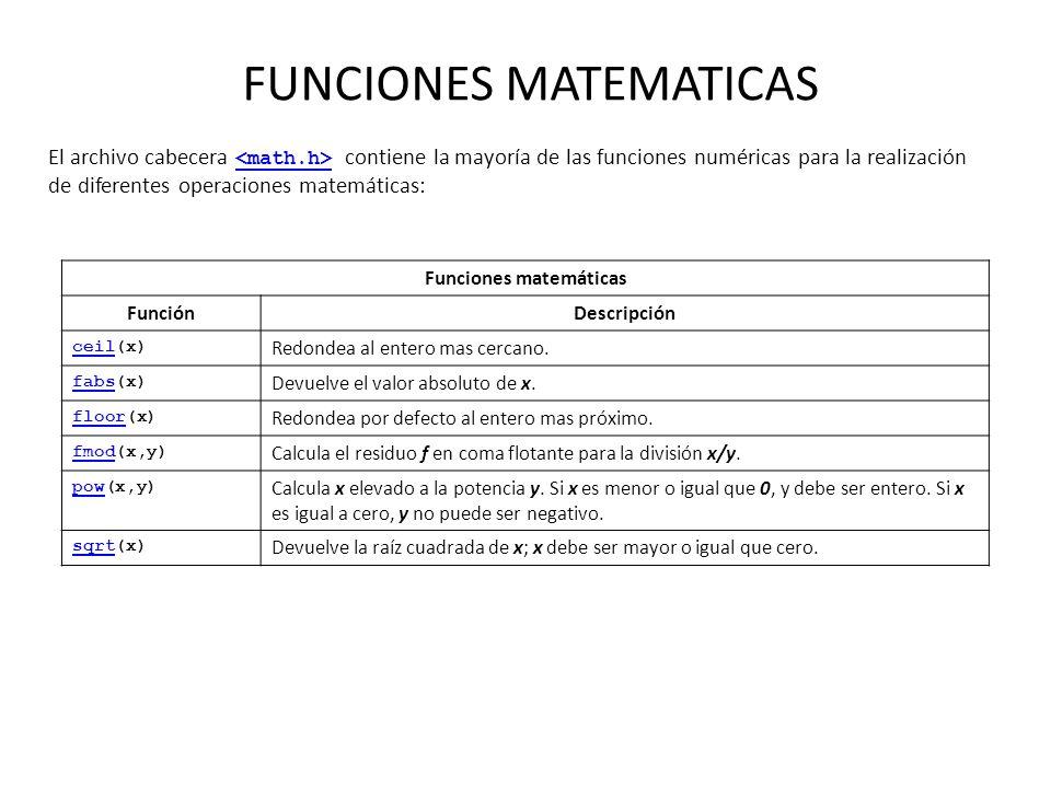 FUNCIONES MATEMATICAS El archivo cabecera contiene la mayoría de las funciones numéricas para la realización de diferentes operaciones matemáticas: Fu