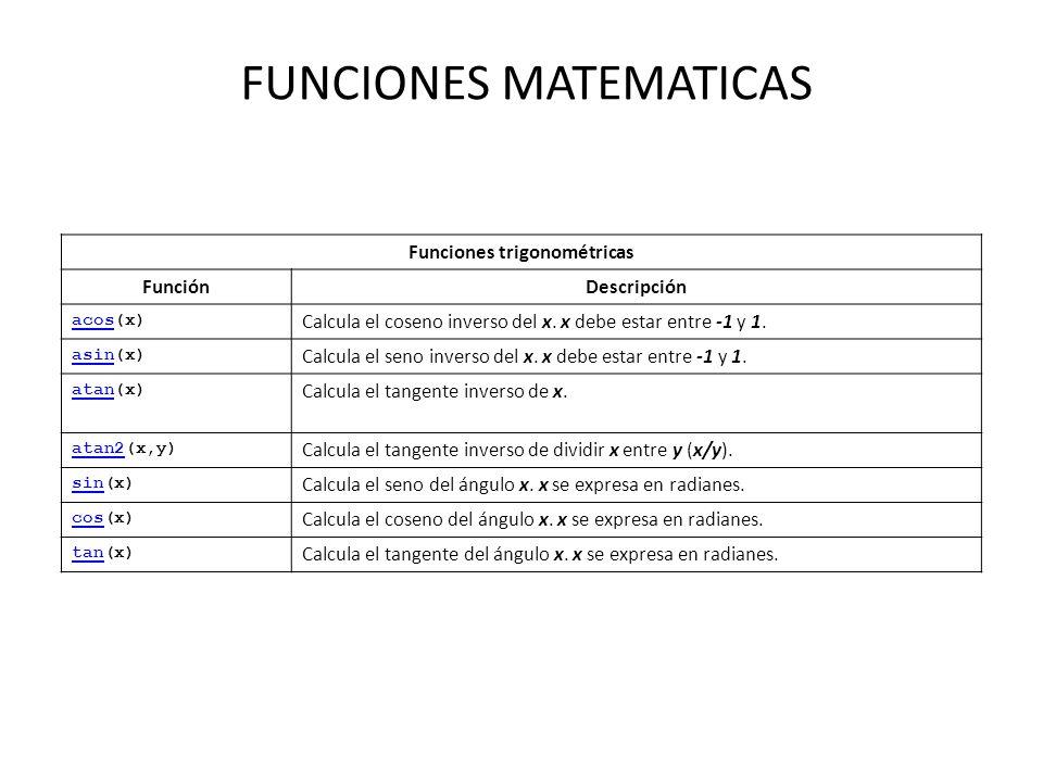FUNCIONES MATEMATICAS Funciones trigonométricas FunciónDescripción acosacos(x) Calcula el coseno inverso del x. x debe estar entre -1 y 1. asinasin(x)