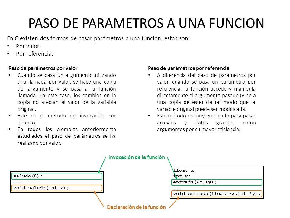 PASO DE PARAMETROS A UNA FUNCION En C existen dos formas de pasar parámetros a una función, estas son: Por valor. Por referencia. Paso de parámetros p