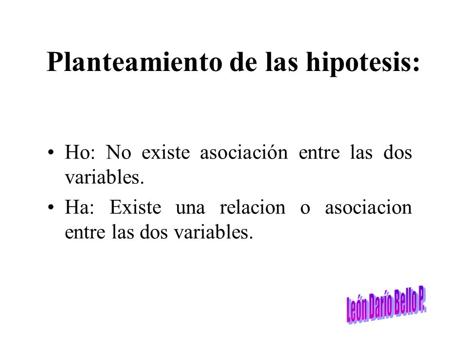 Planteamiento de las hipotesis: Ho: No existe asociación entre las dos variables. Ha: Existe una relacion o asociacion entre las dos variables.