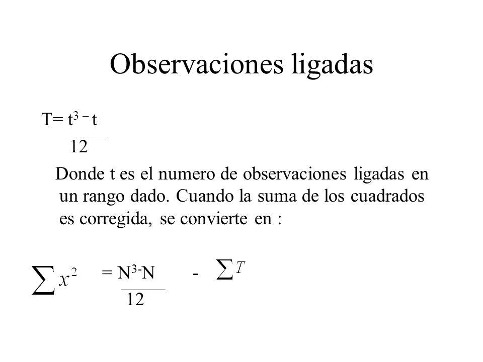 Observaciones ligadas T= t 3 – t 12 Donde t es el numero de observaciones ligadas en un rango dado. Cuando la suma de los cuadrados es corregida, se c