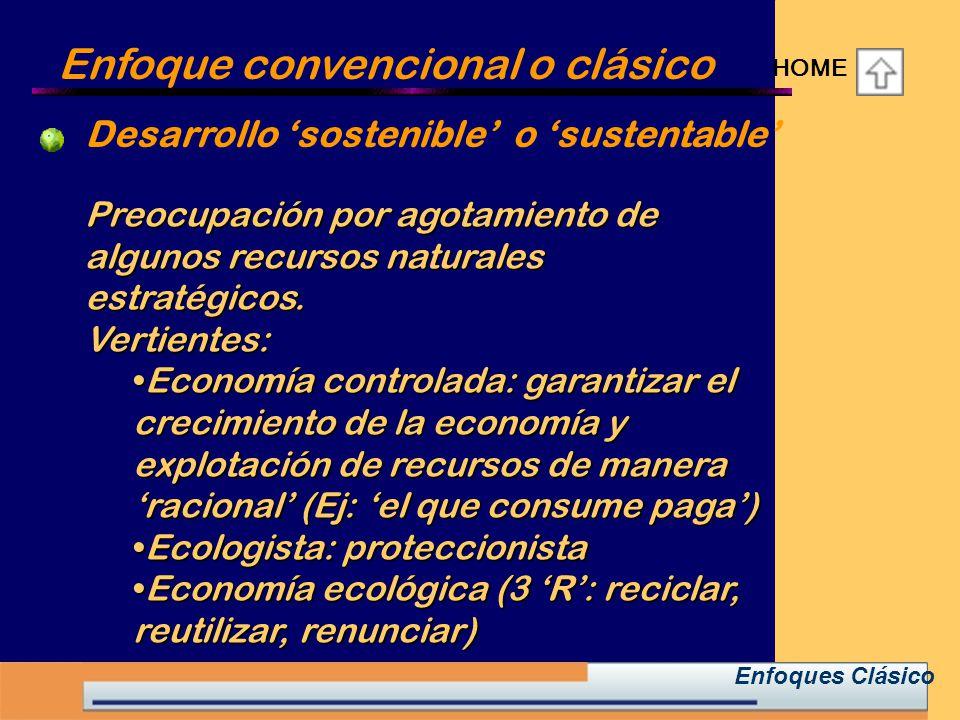 Enfoque convencional o clásico HOME Enfoques Clásico Preocupación por agotamiento de algunos recursos naturales estratégicos.