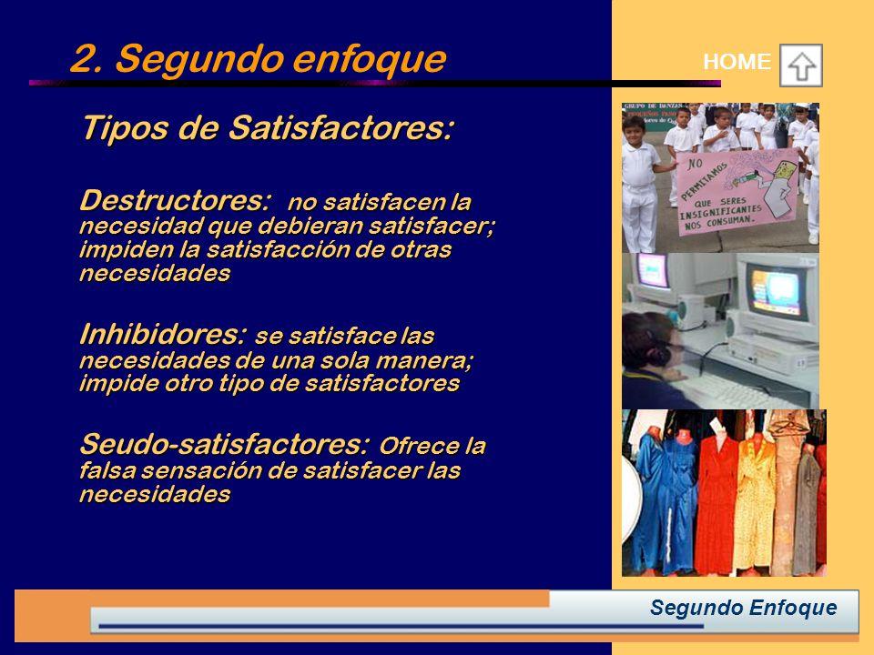 2. Segundo enfoque HOME Tipos de Satisfactores: Tipos de Satisfactores: Destructores: no satisfacen la necesidad que debieran satisfacer; impiden la s