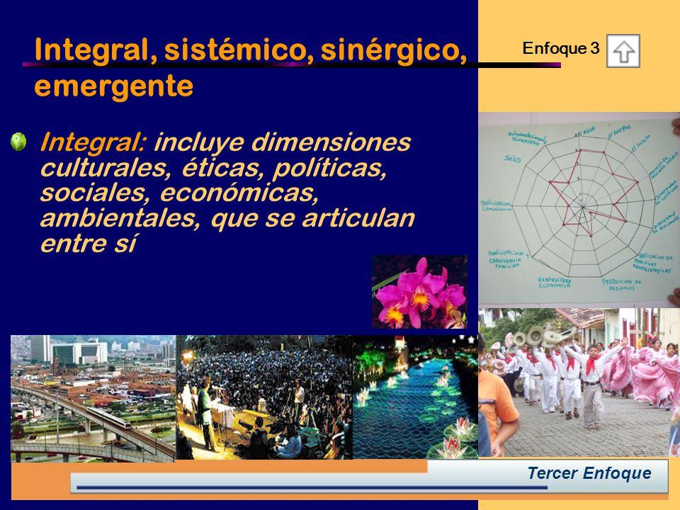 Integral: incluye dimensiones culturales, éticas, políticas, sociales, económicas, ambientales, que se articulan entre sí Integral, sistémico, sinérgico, emergente Enfoque 3 Tercer Enfoque