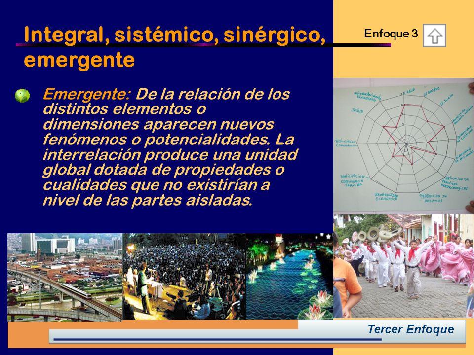 Integral, sistémico, sinérgico, emergente Enfoque 3 Tercer Enfoque Emergente: De la relación de los distintos elementos o dimensiones aparecen nuevos fenómenos o potencialidades.