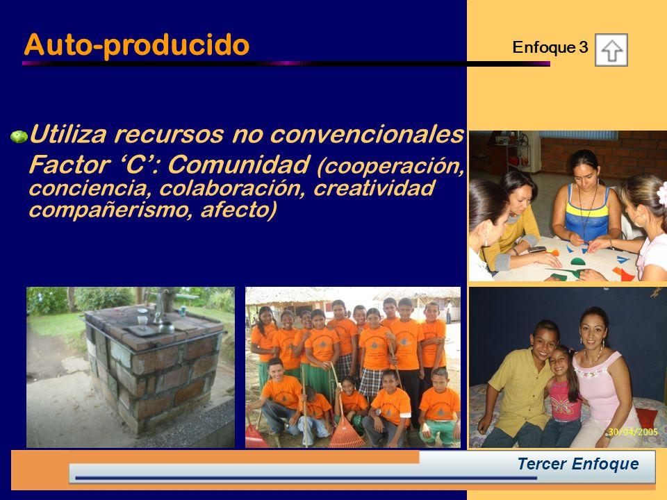 Tercer Enfoque Utiliza recursos no convencionales Factor C: Comunidad (cooperación, conciencia, colaboración, creatividad compañerismo, afecto) Auto-producido Enfoque 3