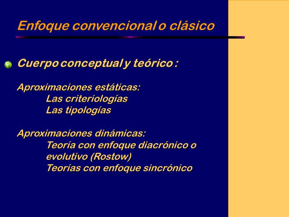 Enfoque convencional o clásico Cuerpo conceptual y teórico : Aproximaciones estáticas: Las criteriologías Las tipologías Aproximaciones dinámicas: Teoría con enfoque diacrónico o evolutivo (Rostow) Teorías con enfoque sincrónico