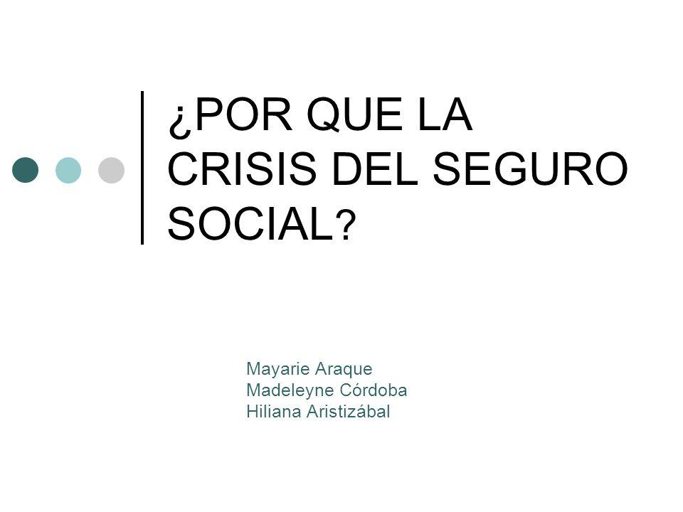 ¿POR QUE LA CRISIS DEL SEGURO SOCIAL ? Mayarie Araque Madeleyne Córdoba Hiliana Aristizábal