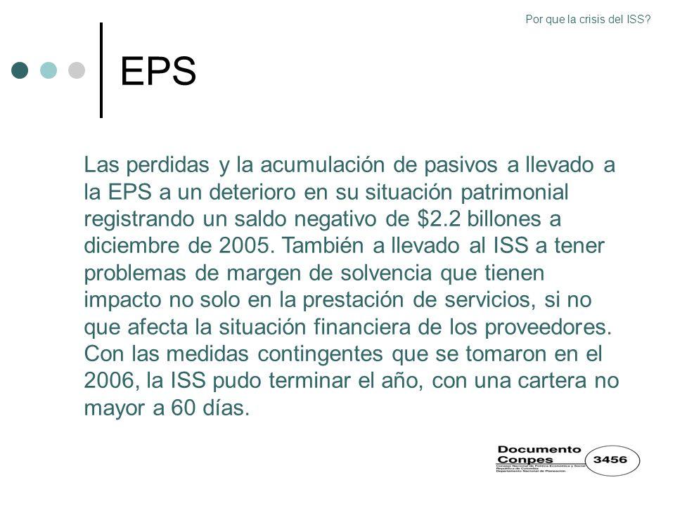EPS Las perdidas y la acumulación de pasivos a llevado a la EPS a un deterioro en su situación patrimonial registrando un saldo negativo de $2.2 billo
