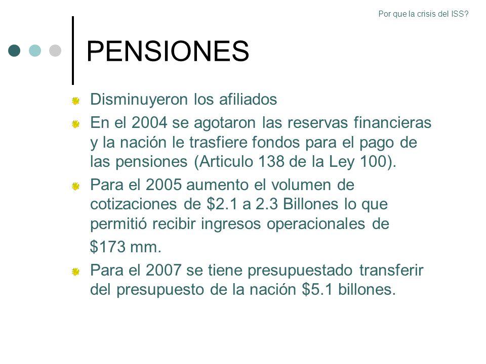 PENSIONES Disminuyeron los afiliados En el 2004 se agotaron las reservas financieras y la nación le trasfiere fondos para el pago de las pensiones (Ar