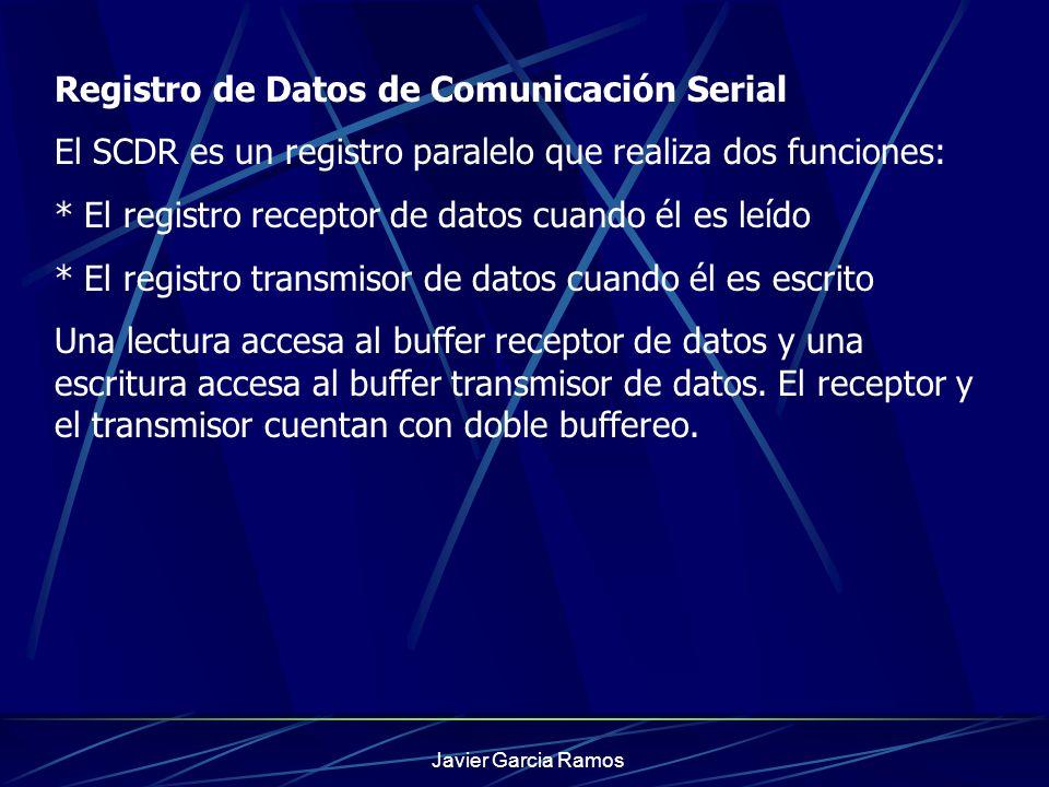 Javier Garcia Ramos Registro de Datos de Comunicación Serial El SCDR es un registro paralelo que realiza dos funciones: * El registro receptor de dato