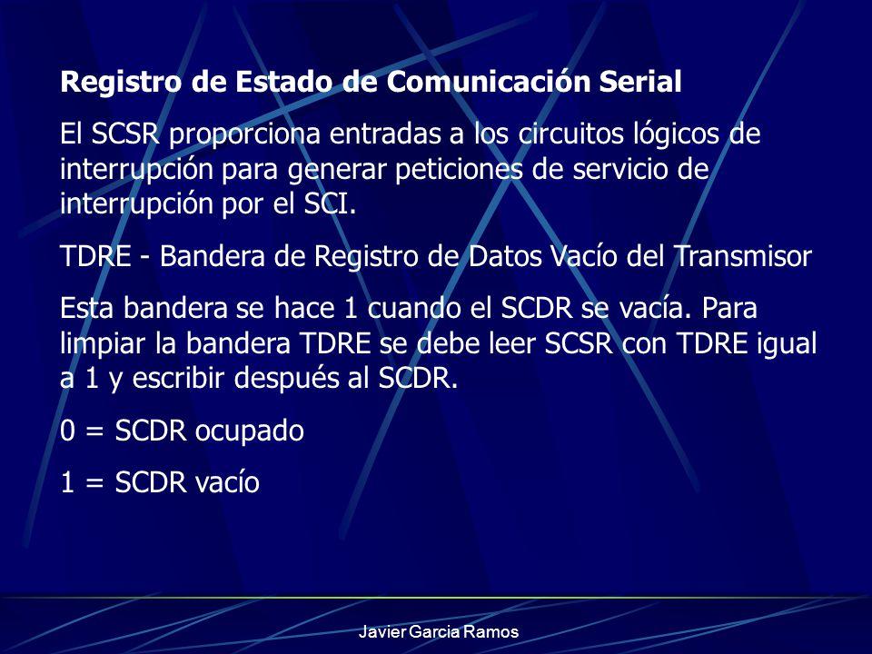 Javier Garcia Ramos Registro de Estado de Comunicación Serial El SCSR proporciona entradas a los circuitos lógicos de interrupción para generar petici