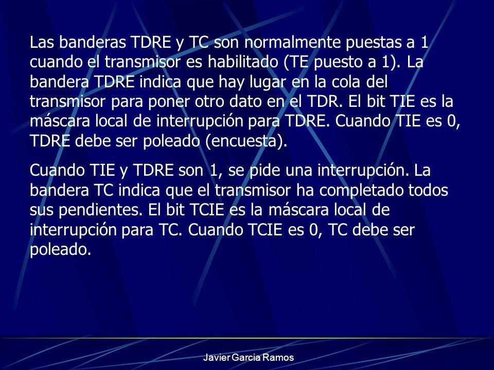 Javier Garcia Ramos Las banderas TDRE y TC son normalmente puestas a 1 cuando el transmisor es habilitado (TE puesto a 1). La bandera TDRE indica que