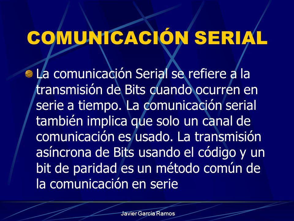 COMUNICACIÓN SERIAL La comunicación Serial se refiere a la transmisión de Bits cuando ocurren en serie a tiempo. La comunicación serial también implic