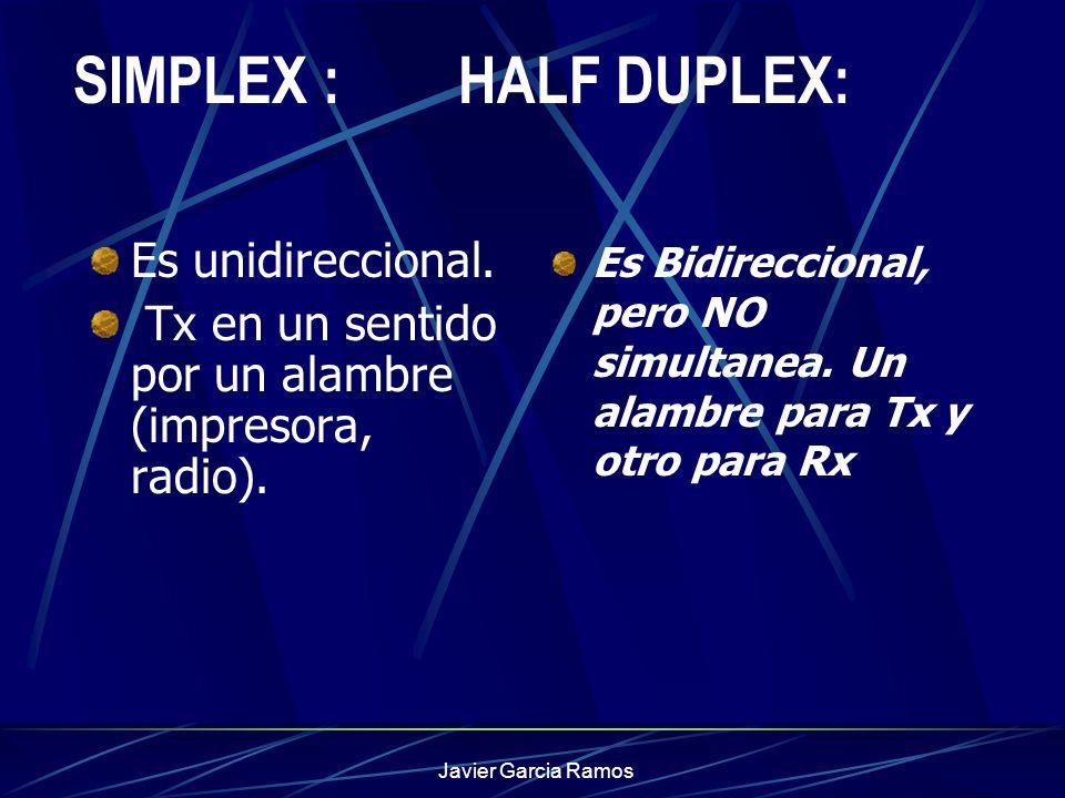 Javier Garcia Ramos SIMPLEX : HALF DUPLEX: Es unidireccional. Tx en un sentido por un alambre (impresora, radio). Es Bidireccional, pero NO simultanea