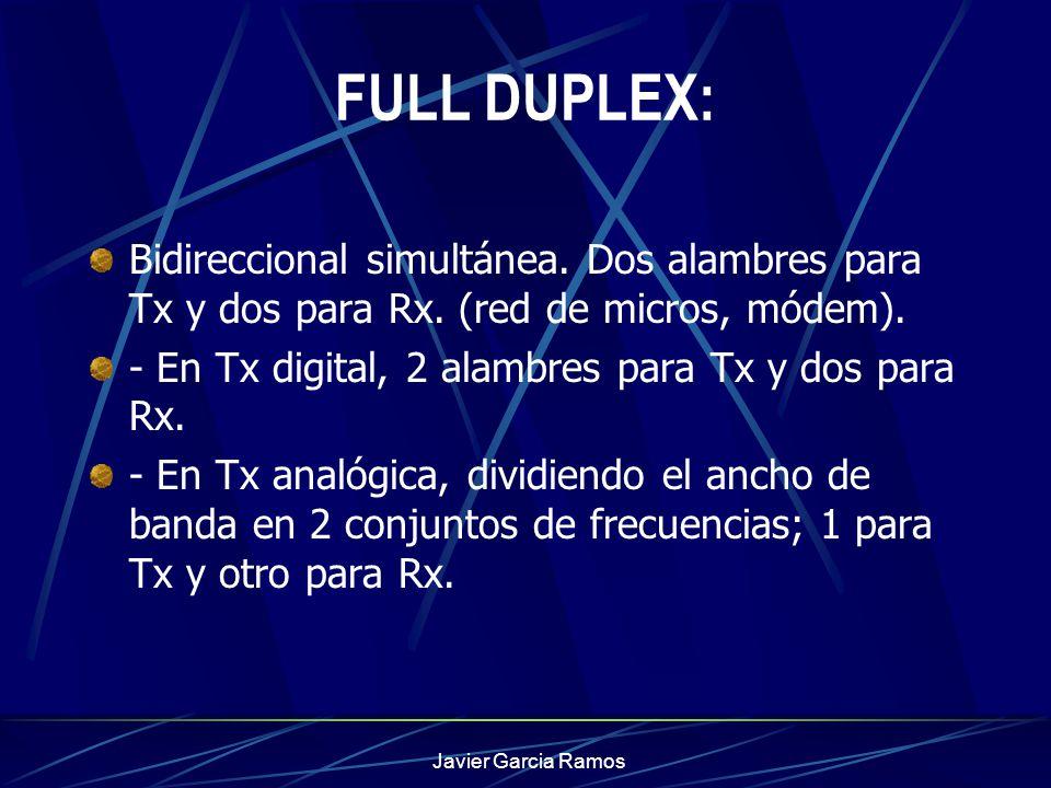 Javier Garcia Ramos FULL DUPLEX: Bidireccional simultánea. Dos alambres para Tx y dos para Rx. (red de micros, módem). - En Tx digital, 2 alambres par