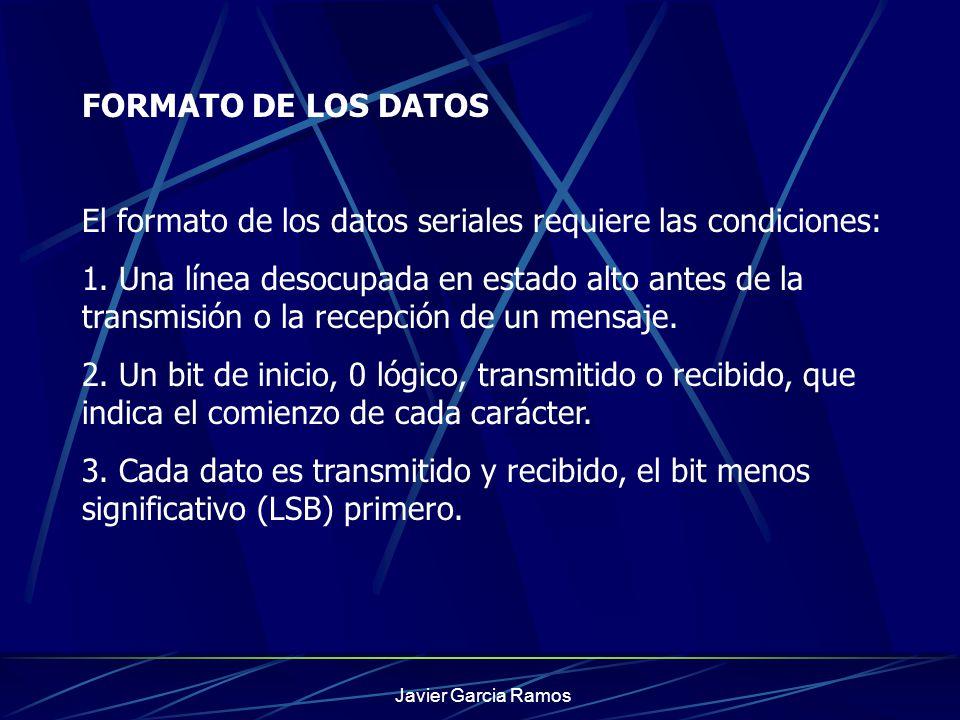 Javier Garcia Ramos FORMATO DE LOS DATOS El formato de los datos seriales requiere las condiciones: 1. Una línea desocupada en estado alto antes de la