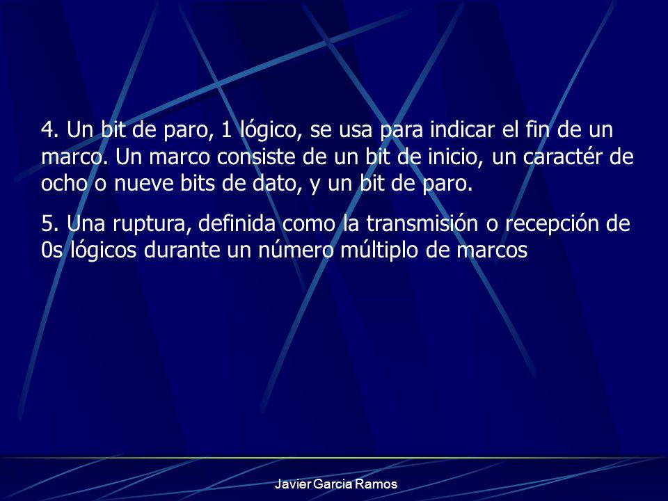Javier Garcia Ramos 4. Un bit de paro, 1 lógico, se usa para indicar el fin de un marco. Un marco consiste de un bit de inicio, un caractér de ocho o