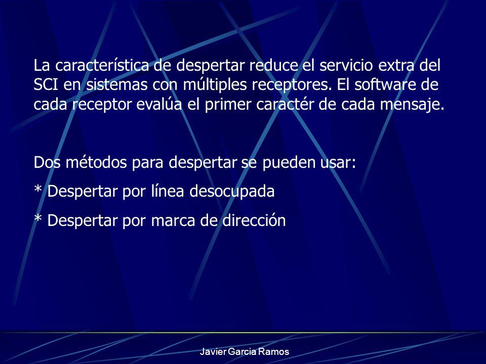 Javier Garcia Ramos Registro de Datos de Comunicación Serial El SCDR es un registro paralelo que realiza dos funciones: * El registro receptor de datos cuando él es leído * El registro transmisor de datos cuando él es escrito Una lectura accesa al buffer receptor de datos y una escritura accesa al buffer transmisor de datos.
