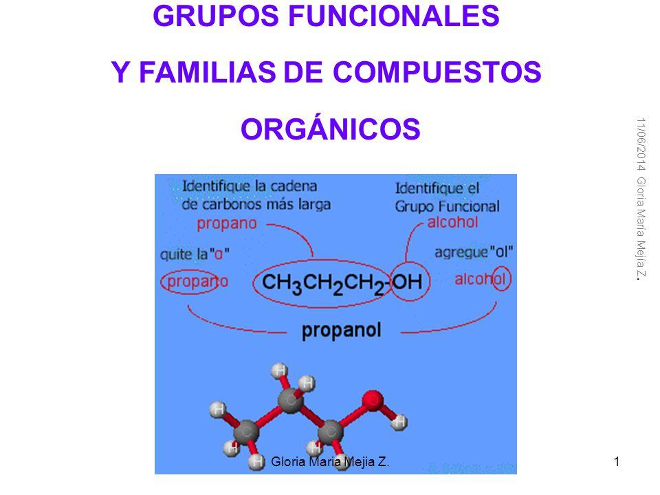 Clasificación de los compuestos orgánicos Solo con C-H hidrocarburos Cadena abierta Saturados alcanos insaturados alquenos alquinos Cadena cerrada ciclos Ciclo alcano Ciclo alqueno Ciclo alquino aromáticos C-H y otros elementos 11/06/201451Gloria Maria Mejia Z.