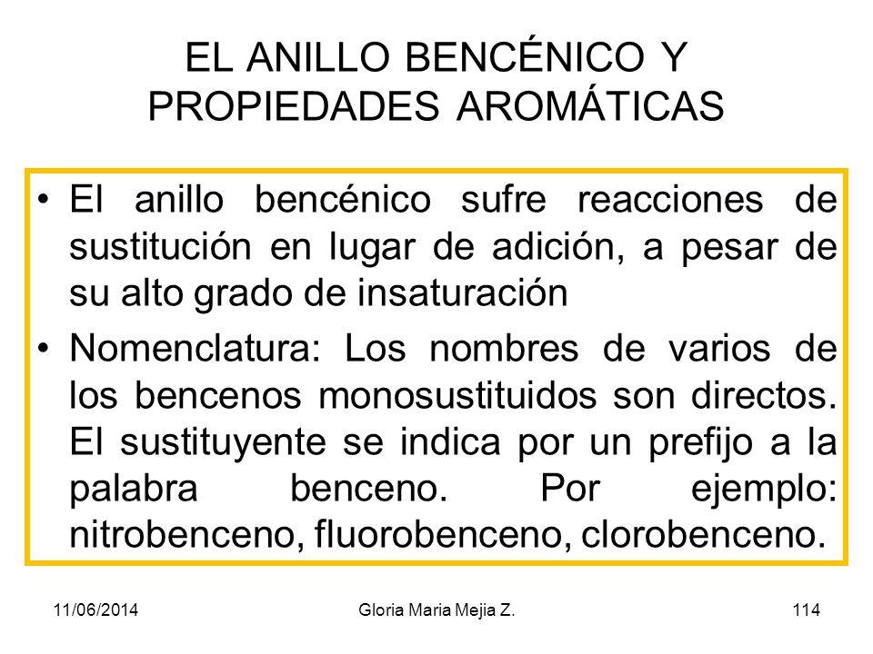 Un compuesto aromático : Es Cíclico Presenta dobles enlaces conjugados Presenta resonancia (movimiento de dobles enlaces) 11/06/2014113Gloria Maria Me