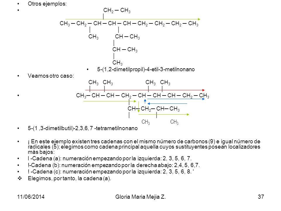 Por ejemplo: CH 3 CH 3 CH 3 -CH 2 -CH 2 -CH -CH -CH 2 -CH -CH 2 -CH 3 CH 2 CH 2 CH 2 CH 3 En este caso se pueden elegir tres cadenas de igual número d