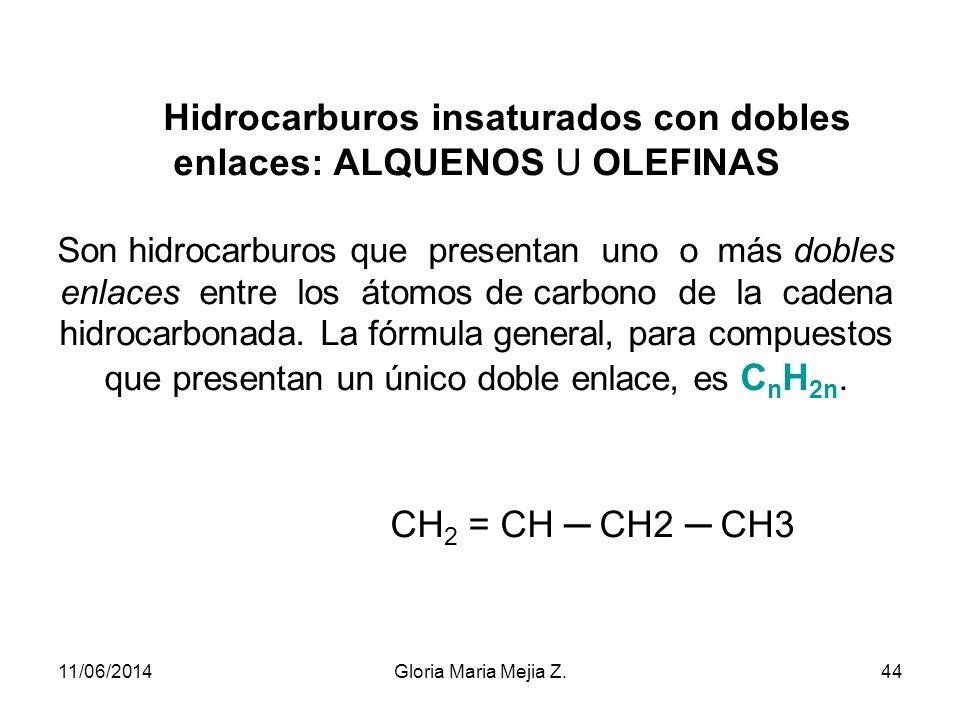 Reglas de prioridad para nomenclatura Alquilo Triple enlace Doble enlace Amina Alcohol Cetona Aldehído Amida Haluros Acido carboxílico 11/06/201443Glo