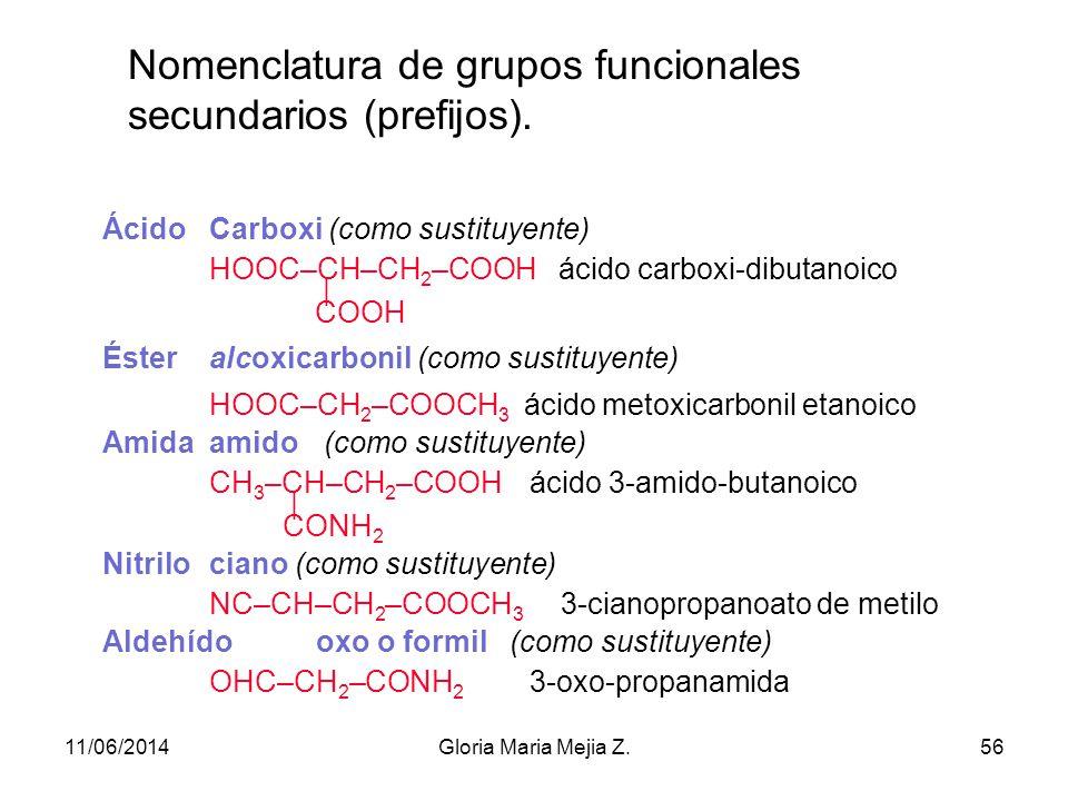 Nomenclatura de compuestos orgánicos con más de un grupo funcional. Se identifica cuál es la función principal (la primera en el nombre de preferencia