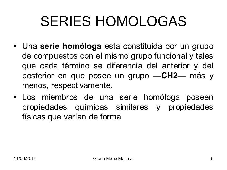 SERIES HOMOLOGAS Una serie homóloga está constituida por un grupo de compuestos con el mismo grupo funcional y tales que cada término se diferencia del anterior y del posterior en que posee un grupo CH2 más y menos, respectivamente.