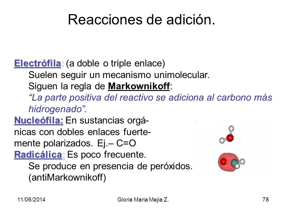 Ejemplos de Sustitución nucleófila Sustitución de derivados clorados: (CH 3 ) 3 C–Cl + NaOH (CH 3 ) 3 C–OH + NaCl Nota: Esta reacción compite con la d