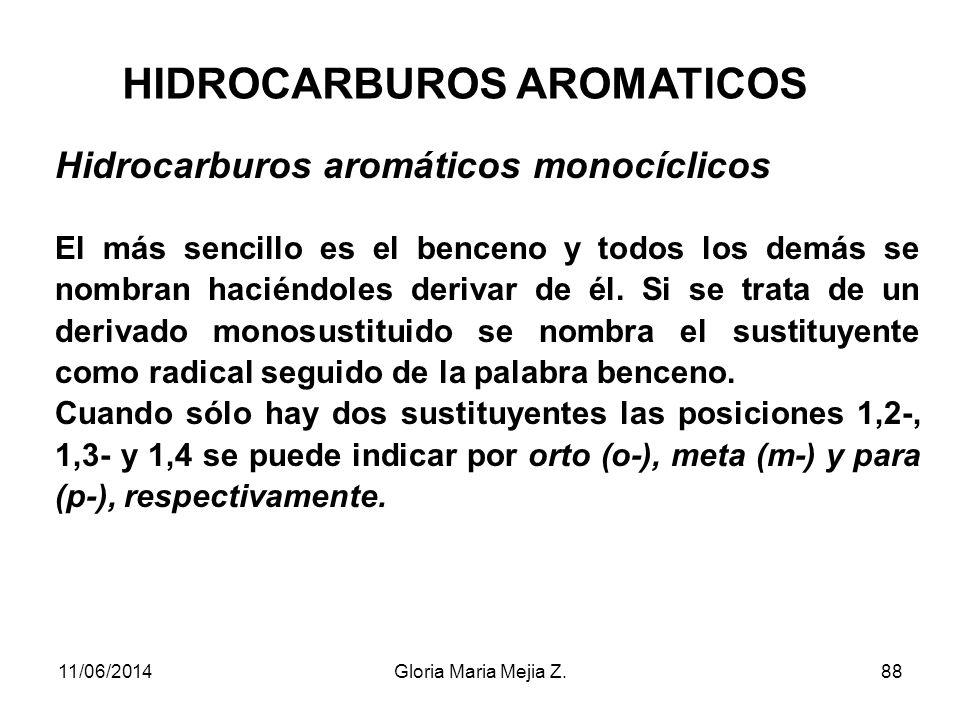 HIDROCARBUROS AROMATICOS Se les conoce también con el nombre genérico de ARENOS. Son el benceno y todos sus derivados y, dependiendo del número de núc