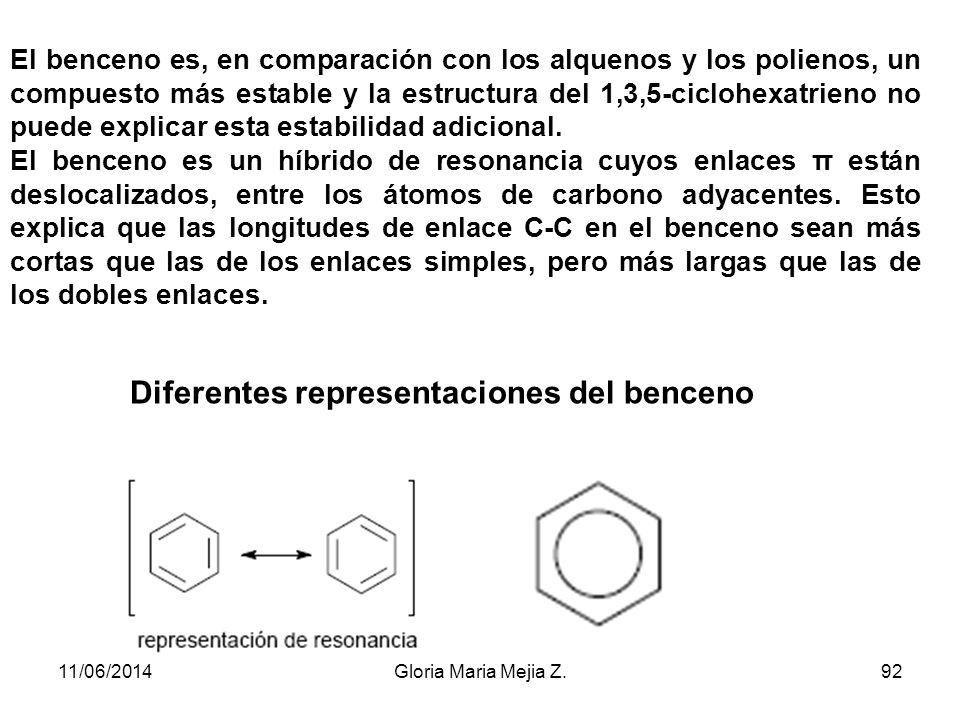 La primera estructura para el benceno fue propuesta por Kekulé en 1865 y consistía en una mezcla en equilibrio de dos ciclohexatrienos, formados con e