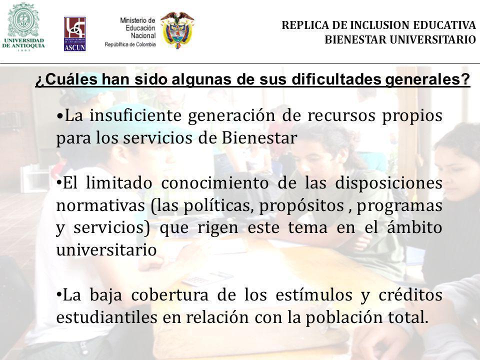 La insuficiente generación de recursos propios para los servicios de Bienestar El limitado conocimiento de las disposiciones normativas (las políticas