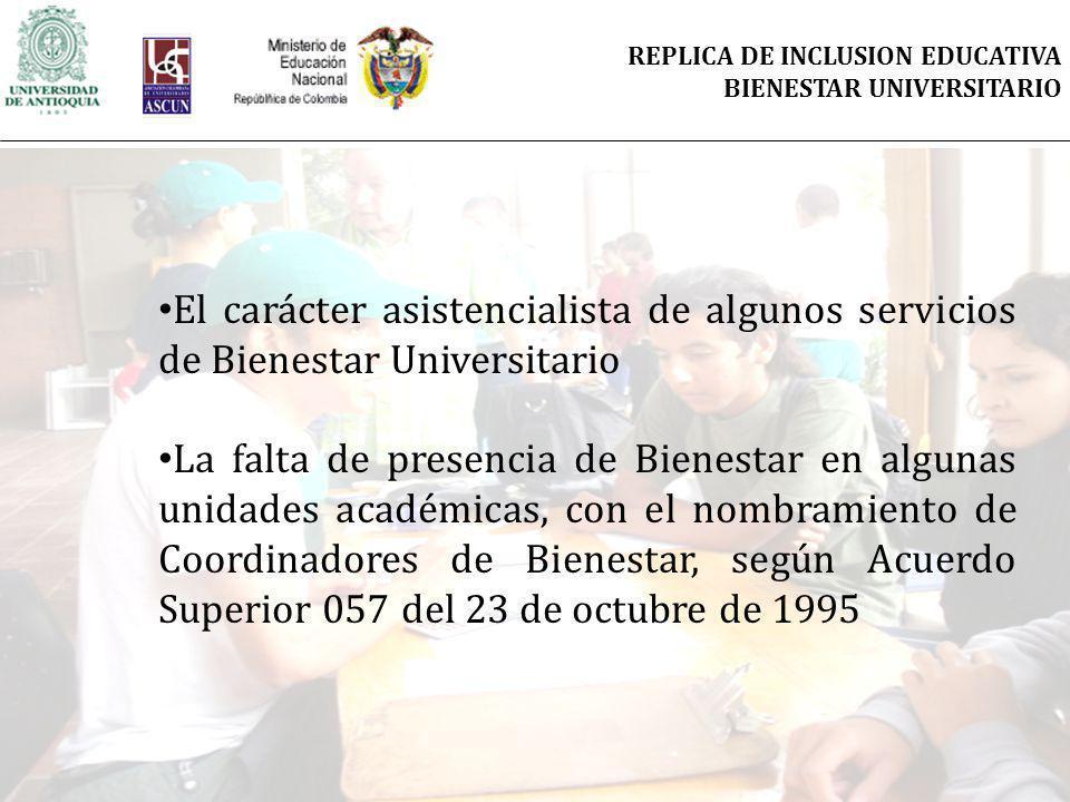 El carácter asistencialista de algunos servicios de Bienestar Universitario La falta de presencia de Bienestar en algunas unidades académicas, con el nombramiento de Coordinadores de Bienestar, según Acuerdo Superior 057 del 23 de octubre de 1995 REPLICA DE INCLUSION EDUCATIVA BIENESTAR UNIVERSITARIO