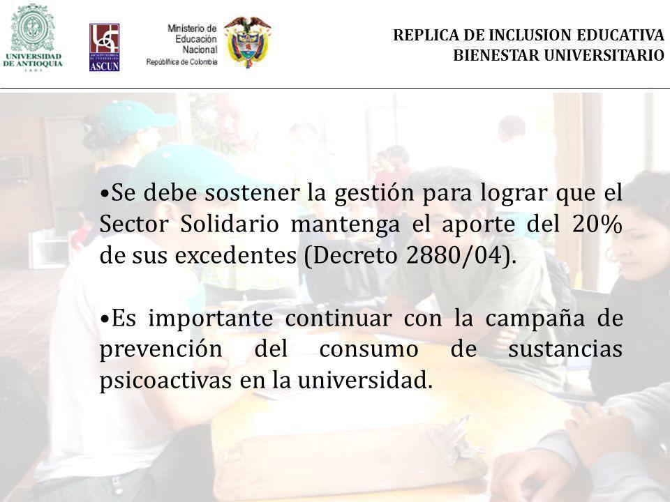 Se debe sostener la gestión para lograr que el Sector Solidario mantenga el aporte del 20% de sus excedentes (Decreto 2880/04). Es importante continua