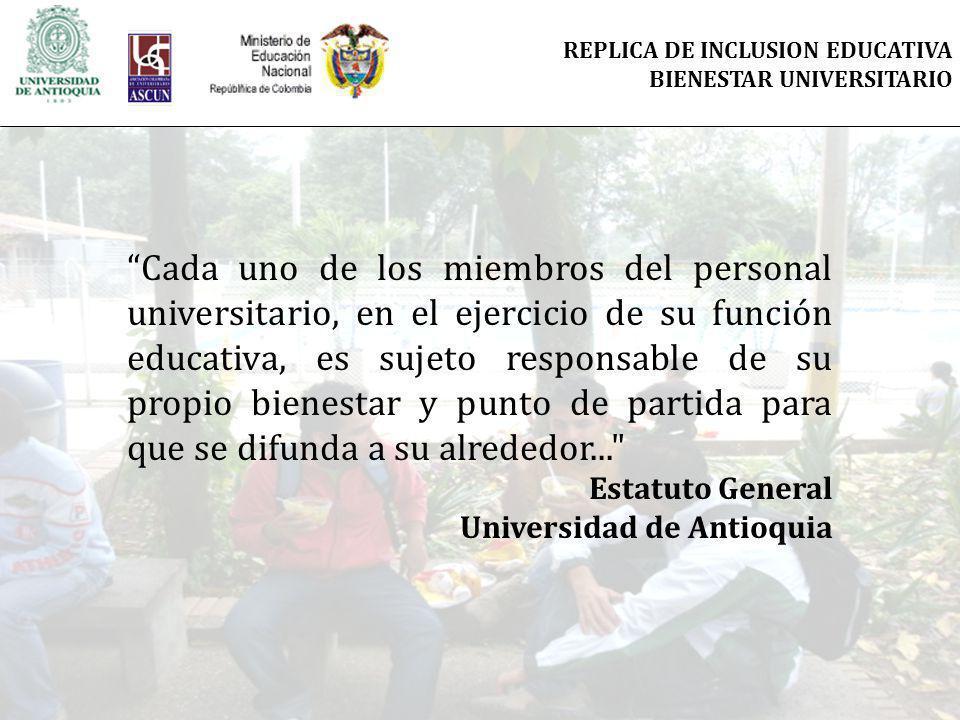 REPLICA DE INCLUSION EDUCATIVA BIENESTAR UNIVERSITARIO Cada uno de los miembros del personal universitario, en el ejercicio de su función educativa, es sujeto responsable de su propio bienestar y punto de partida para que se difunda a su alrededor... Estatuto General Universidad de Antioquia