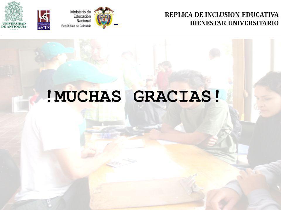 REPLICA DE INCLUSION EDUCATIVA BIENESTAR UNIVERSITARIO !MUCHAS GRACIAS!