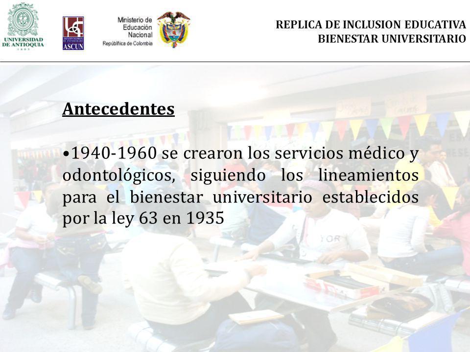 Antecedentes 1940-1960 se crearon los servicios médico y odontológicos, siguiendo los lineamientos para el bienestar universitario establecidos por la ley 63 en 1935 REPLICA DE INCLUSION EDUCATIVA BIENESTAR UNIVERSITARIO
