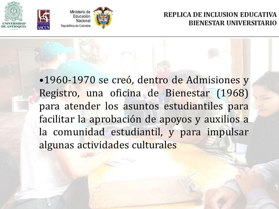 1960-1970 se creó, dentro de Admisiones y Registro, una oficina de Bienestar (1968) para atender los asuntos estudiantiles para facilitar la aprobación de apoyos y auxilios a la comunidad estudiantil, y para impulsar algunas actividades culturales REPLICA DE INCLUSION EDUCATIVA BIENESTAR UNIVERSITARIO
