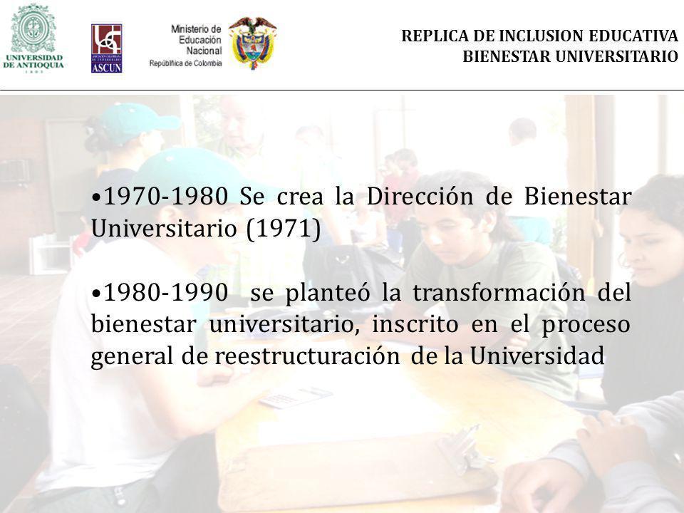 1970-1980 Se crea la Dirección de Bienestar Universitario (1971) 1980-1990 se planteó la transformación del bienestar universitario, inscrito en el proceso general de reestructuración de la Universidad REPLICA DE INCLUSION EDUCATIVA BIENESTAR UNIVERSITARIO