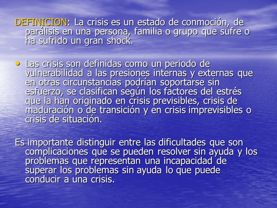 DEFINICION: La crisis es un estado de conmoción, de parálisis en una persona, familia o grupo que sufre o ha sufrido un gran shock.